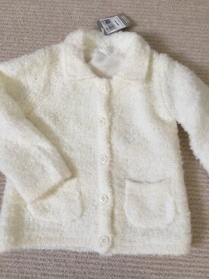 New With Tags TU Girls Cream Fluffy Cardigan Jacket 18-24 Months 2-3 Years