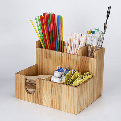 Wooden Cup lid dispenser Coffee Condiment and Accessories Caddy Organizer