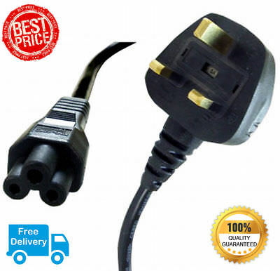 3 Pin Clover Leaf Laptop Charger Mains Power Cable for HP|DELL|ACER Adapter UK