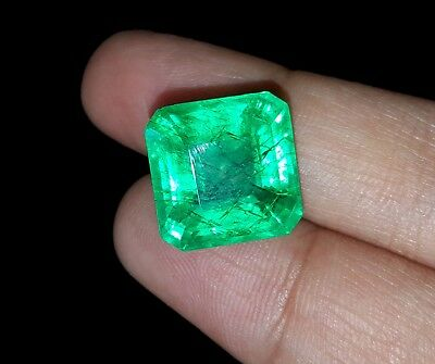Natural Excellent Square Shape 11.27 Ct Certified Colombian Emerald