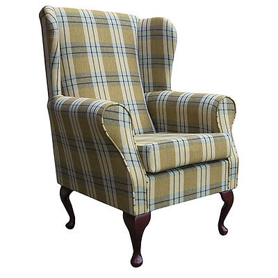 Wing Back Chair in a Pampas Tartan Fabric