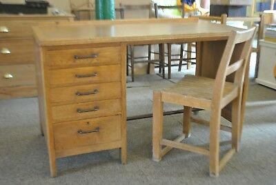 Vintage/Antique Pedestal Desk and Chair (like in Alan Turing's Office)