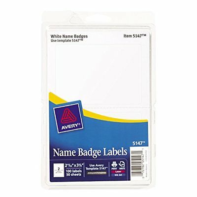 100 Self Adhesive Name Badge Labels Tags Stickers For Laser Ink Jet Print White