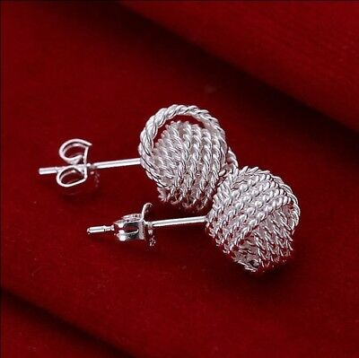 Woman's Solid 925 Sterling silver jewellery net ball Earring for Xmas Gift