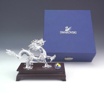 Swarovski Crystal - Dragon With Wooden Stand Figure - Boxed!