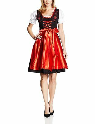 Gaudi-leathers Womens Set-3 Dirndl Pieces Embroidery 36 Red/Black
