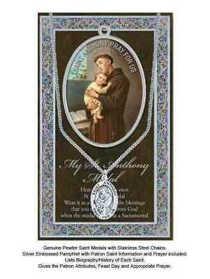 Pewter Saint Anthony Medal, 15 x 24mm Oval, Stainless Steel Chain & Biography