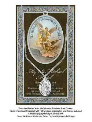 Pewter Saint Michael Medal Pendant, 15 x 24mm Oval, Stainless Steel Chain & Biog