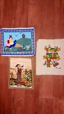 Job Lot - 3 completed Tapestry/cross stich panels - Vintage/Antique