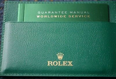 Genuine Rolex green leather card holder And Guarantee Service Booklet set
