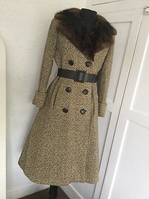 1940's Vintage Fox Fur Trim Collar Coat Nipped In Belted Waist 1920 30's Wartime