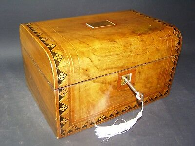 Antique Domed Tunbridge Banded Box Working Lock & Key 1870 Brass Center Piece
