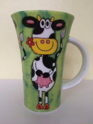 "Large ""line Up"" Dunoon Comic Cow Mug By Jane Brookshaw"