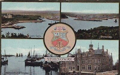Postcard Stornoway Multiview Coat of Arms Fishing Boats Town Hall Castle PU 1913