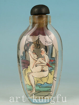 Japan Old Glass Collection Hand Painting Bed Hug Married Statue Snuff Bottle