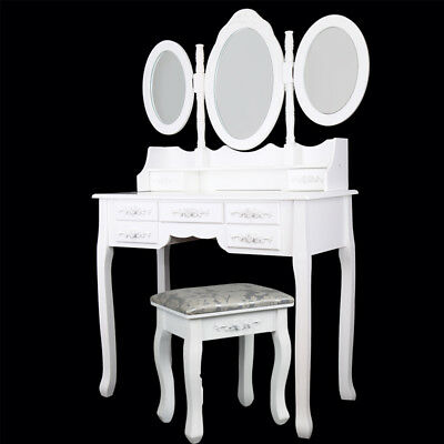White Dressing Table Mirror Drawers Vanity Makeup Desk Set with Stool Furniture