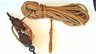 Antique Set Of 2 ~ 3-Pb Upton Walton Uw Double Block Pulleys & 60 Ft. 3/8 Rope.