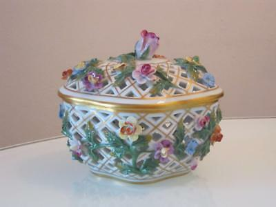 Stunning Vintage Dresden Porcelain Reticulated Lidded Box With Applied Flowers