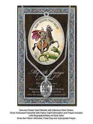 Pewter Saint George Medal Pendant, 15 x 24mm Oval, Stainless Steel Chain & Biogr
