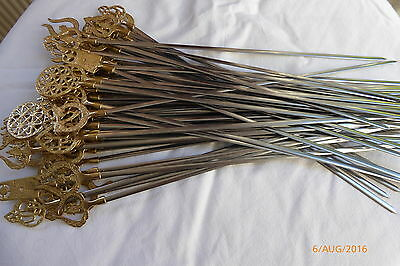 Shish Kebab BBQ Skewers New Stainles steel and brass handel 45cm long Turkish x4