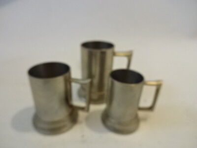 3 MINIATURE SILVER COLOURED TANKARDS Made in Indonesia