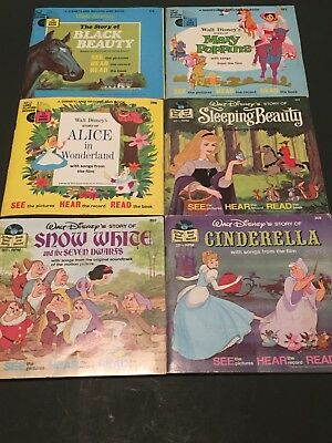 "Lot Of 6 Vintage Disney 7""  Record Read Along Books 33 1/3 RPM"