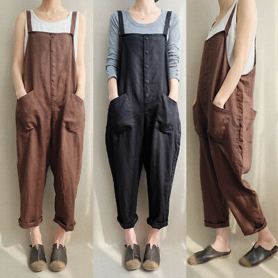 UK 8-24 Women Sleeveless Dungaree Jumpsuits Overalls Harem Long Pants Trousers