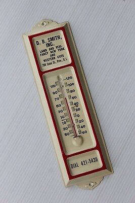 Vtg METAL Advertising Thermometer DB SMITH Meat LAMB VEAL Canal St PROVIDENCE RI