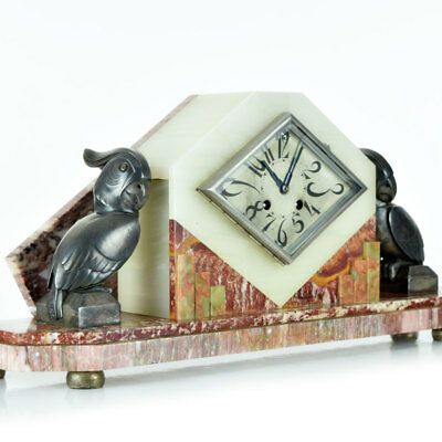 Rare 1930s French ART DECO Parrot Sculpture MANTEL CLOCK by G.H. LAURENT, signed