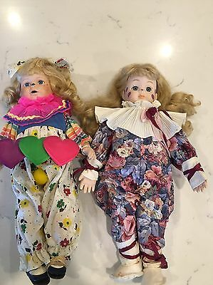 """Vintage Porcelain Faced Jester/clown Doll with blonde hair 17"""" set of 2"""