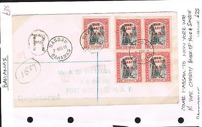 bahamas 1919 cover to USA with 1d war charity stamp X 5