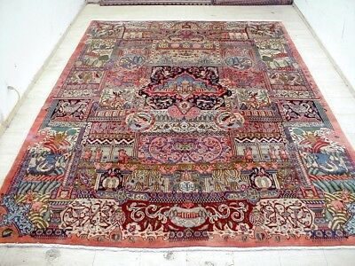 10X13 1940's BREATHTAKING FINE HISTORIC ARCHAEOLOGY HUNTING KASHMAR PERSIAN RUG