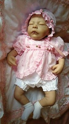 """Reborn dolls dress, Pink anglais with matching bonnet & knickers  for 18"""" doll"""