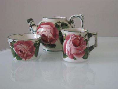 Antique Wemyss Ware Teapot, Milk Jug & Sugar Bowl