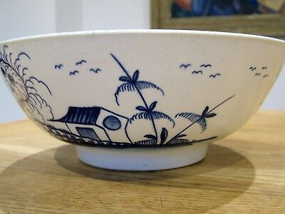 FIRST PERIOD Dr WALL WORCESTER LARGE ROCK STRATA ISLAND BLUE WHITE BOWL ANTIQUE