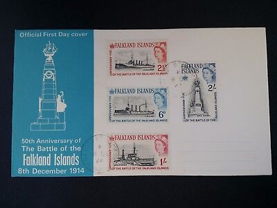 RARE 1964 Falkland Islands 50th Anniversary of Battle FDC ties 4 stamps
