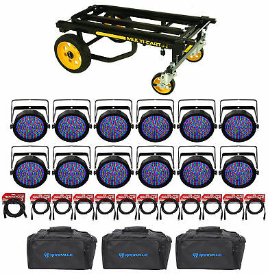 (12) Chauvet SlimPAR 64 RGBA DMX Wash Lights+(3) Bags+(12) Cables+Transport Cart