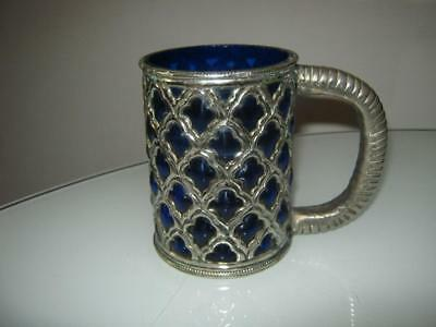 Stunning Vintage Cobalt Blue Glass Tankard With White Metal Inlay