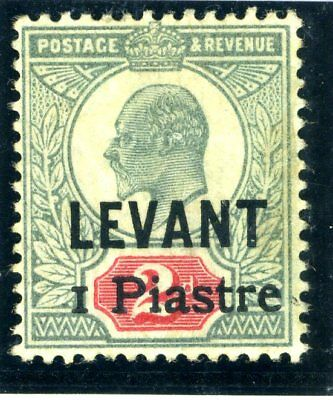 BRITISH LEVANT-1906 1Pi on 2d Grey Green  Carmine fine mounted mint + cert Sg 15