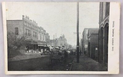 early 1900s Postcard Oak Street Hearne Texas Antique TX PC