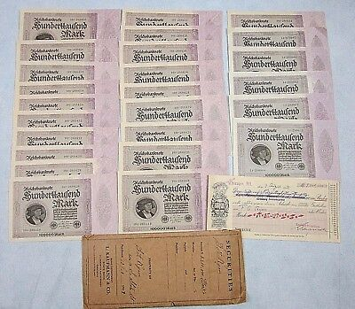 25 1923 100,000 Mark Reichsbanknote 19+3 Consecutive Serial Numbers + Document