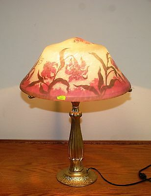 "French Reproduction Cameo Glass ""duam Nancy"" Table Lamp Europe Post 1940"