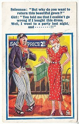 CLOTHES SHOP - Girl Who Went Wrong / Returns Gown - 1948 used Comic postcard