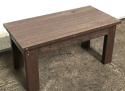 Outdoor Heavy Duty Coffee Dining Table Patio Brown 100% Recycled Plastic