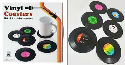 Pack of 6 Retro CD Record Vinyl Coasters for Coffee / Tea | Cool Xmas Gift
