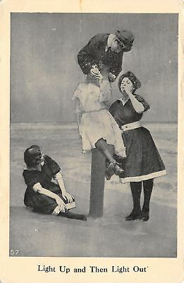 Vintage Bathing Beauties~Light Up & Then Out~Smoke Cigarettes on the Beach~1909