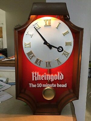 "Vintage Rheingold Beer ""Ten Minute Head"" Electric clock/Pendulum"