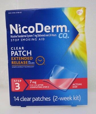 NicoDerm  CQ Step-3 (2-week Kit) Clear Patch Extended Release 7mg Exp 9/17
