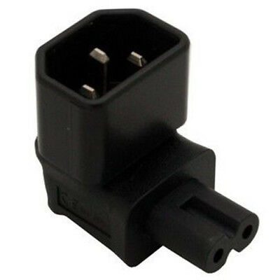 IEC 320 C14 to IEC C7 Right angle Power Adapter Black H9G6 C1P7