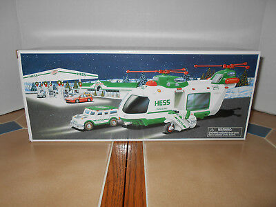 Hess 2001 Helicopter with motorcycle and cruiser,NIB